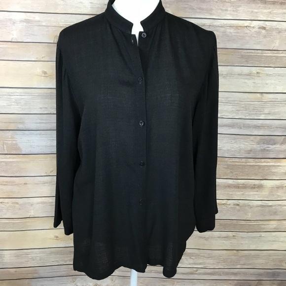 24151193d96 Eileen Fisher Tops - Eileen Fisher Black Linen Mandarin Collar Blouse
